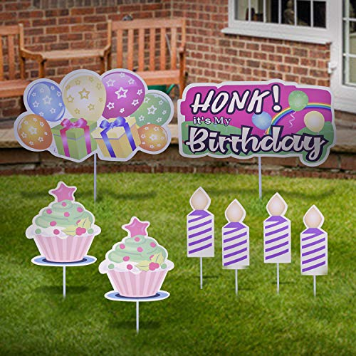 ZYP 8 Pack Happy Birthday Yard Sign with Stakes, Small Honk Its My Birthday Yard Sign Cupcake Candle Quarantine Outdoor Lawn Signs