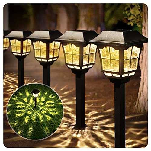 BEAU JARDIN 8 Pack Glass Solar Lights Pathway Landscape Outdoor Garden Waterproof Warm White LED Stainless Steeel Bright Sun Powered Lighting for Yard Path Patio Walkway Stakes Pattern Black