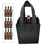 Borsa per bottiglie, Borsa per regalo per bottiglia di vino, Borsa per bottiglia Portabottiglie Borsa per birra Borsa in feltro per 9 bottiglie Perfetto per la festa di viaggio (32 x 24 x 20 cm)