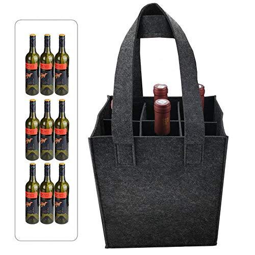 ysister Bolsa para Botellas, Bolsa para Transportar Botellas, Bolsa de Regalo de Botella de Vino, Portador de Cerveza Bolsa de Fieltro para 9 Botellas Fiesta Fiesta de Viaje (32 x 24 x 20 cm)
