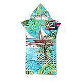 Treer Poncho Asciugamano con Cappuccio, 3D Adulto Asciugatura Rapida Microfibra Robe Cambiarsi Telo da Bagno Copricostume Accappatoio per Spiaggia Mare Surf (Gabbiano,75x110cm)