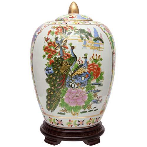 ORIENTAL Furniture Satsuma Porzellan-Vase mit Vögeln und Blumen, 28 cm, Mehrfarbig