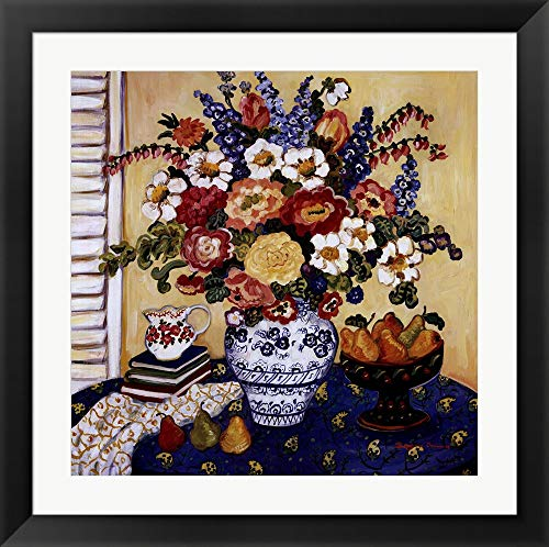 Ann's Favorite Blue and White Floral by Suzanne Etienne Framed Art Print Wall Picture, Black Flat Frame, 32 x 32 inches