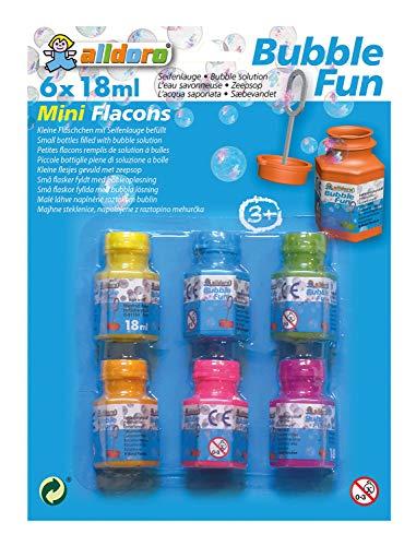 Alldoro Mini Seifenblasen-Flaschen mit Pustestab, 6 Flaschen mit je 18 ml, ideal für den Kindergeburtstag, als Mitgebsel, farbig sortiert