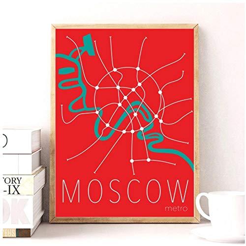 Non-branded artaslf Mapa del Metro de Moscú Imagen de Arte de la Pared Pintura de la Lona Impresiones del Cartel Decoración de la Pared del hogar Pintura- 50x70cm sin Marco