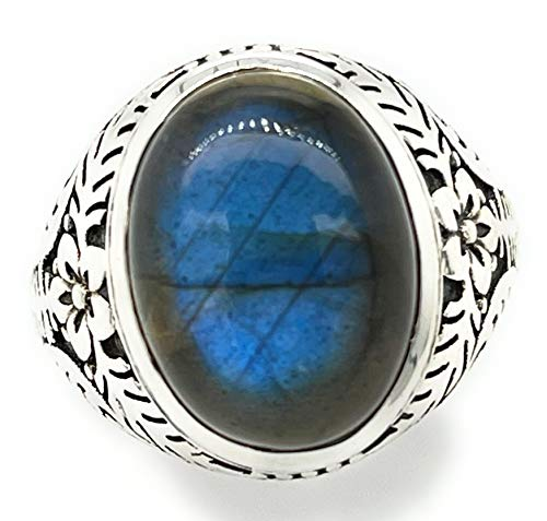 Natural Blue Labradorite 925 Solid Sterling Silver Men's Ring Size 8, 8.75, 9