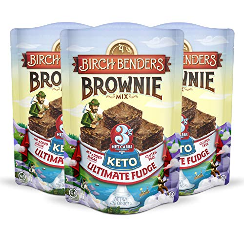 Birch Benders Keto Ultimate Fudge Brownie Mix, 3g Net Carbs, 3 pack (10.8oz each)