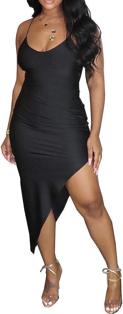 MESLIMA Women's Sexy Bodycon Spaghetti Strap Sleeveless Backless Evening Club Dress