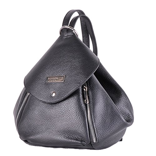 BORDERLINE - 100% Made in Italy - Borsa Zaino in Vera Pelle - AMELIA - (NERO)