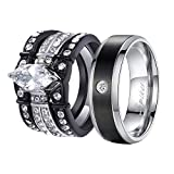 MABELLA His and Hers Wedding Ring Sets Couples Matching Rings Black Women's Stainless Steel Cubic Zirconia Engagement Ring Bridal Sets & Men's Titanium Wedding Band Women's Size 9 Men's Size 10