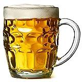 Bar@Drinkstuff - El hoyuelo británico gran taza - pack de 4 | hoyuelo tazas, jarras de cerveza, jarras de cerveza, hoyuelo tazas, jarra de vidrio | jarras de cerveza cristal tradicional | jarras de cerveza con hoyuelos