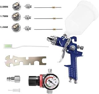 KKTECT pistola de pintura pistola pulverizadora portátil HVLP pistola de cuero para muebles juego de mini pistola manual con tanque de pintura de 600 cc y 3 boquillas