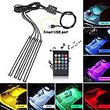 Xiphoer Interior Car LED Strip Lights, Multi-Color RGB 4pcs 48 LEDs Underdash Foot Lighting Kit. Sound Active Function and Wireless Remote Control Included, DC 5V, Smart USB Port