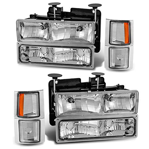 AUTOSAVER88 Headlight Assembly Compatible with Chevy C/k Series 1500 2500 3500 / Chevy Tahoe / Chevy Suburban / Chevy Silverado 1994-2000 Crystal Headlamp w/Corner & Bumper Light,Chrome Housing