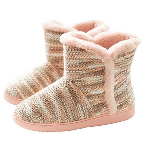 AONEGOLD Hausschuhe Damen Herren Hausstiefel Warm rutschfest Winter Hüttenschuhe Plüsch Pantoffeln Stiefel Outdoor/Indoor(Pink,34-35 EU)