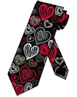 Heart Ties Mens Valenties Day Holiday Necktie by Three Rooker