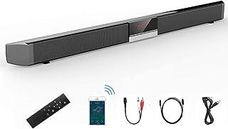 サウンドバースピーカー ホームシアターシステム TV/PC/スマート利用可能 【Bluetooth4.0/光デジタル/USB/RCA/AUX (有線)】5つの接続方法 40W出力 高音質 大音量 内蔵サブウーファー 2.0ch 壁掛け可能 家庭用シアターバー ブラック