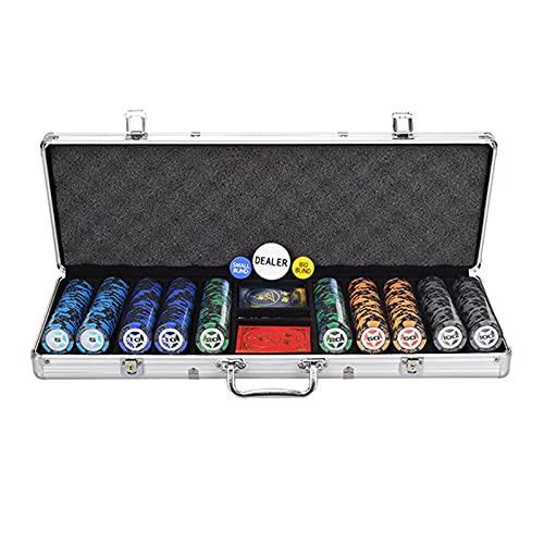 chip @SY Poker Set, láser de núcleo metálico 300/500, Tarjeta de PLÁSTICO póquer Traje fichas de póquer Maleta fichas tapete de Juego