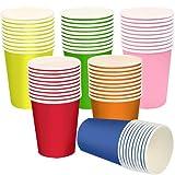 Einweg Pappbecher, 250ml/60Stück Multicolor Partybecher Biologisch Abbaubar Einwegbecher, Kinder DIY, Partybedarf, Kaffee, Tee, Heißen und Kalten Getränken