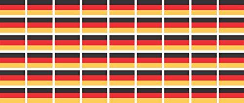 Mini Aufkleber Set - Pack glatt - 20x12mm - Selbstklebender Sticker - Fahne - Germany - Deutschland - Flagge/Banner/Standarte fürs Auto, Büro, zu Hause und die Schule - 54 Stück