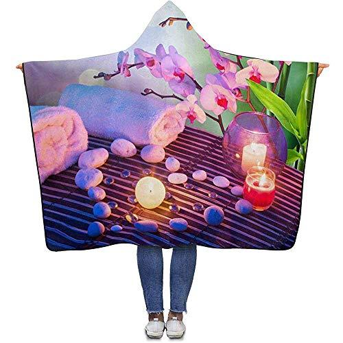 Manta Zen Pebbles Candle Manta de bambú para adultos, con capucha, 150 x 200 cm