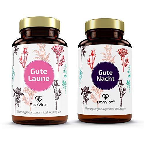 BonVigo Duo Gute Laune + Gute Nacht, die Naturprodukte - Lavendel, Passionsblume, Melisse, Brahmi, Baobab, Bittermelone, Tryptophan als Serotonin-Booster - Vitamine: Anti Stress, Beruhigung, Stimmung*