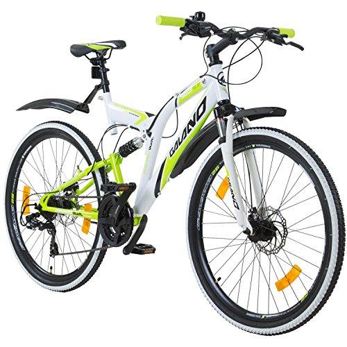 Galano 26 Zoll MTB Fully Volt DS Mountainbike Scheibenbremsen Jugendfahrrad, Farbe:Weiss/grün