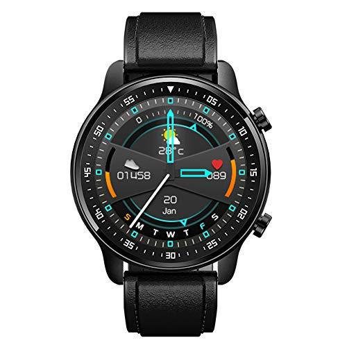 Reloj inteligente con monitor de frecuencia cardíaca, reproductor de música, resistente al agua, rastreador de ejercicios, podómetro, relojes deportivos cardiovasculares para hombres y mujeres (Black)
