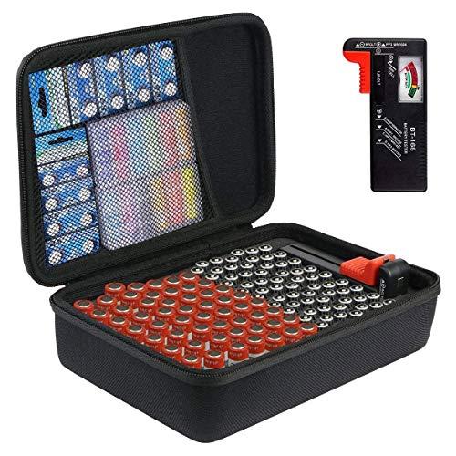 Khanka Batterie Aufbewahrungsbox Organizer mit Batterietester (BT168).Hart Tasche Hält 116 Batterien AAA AA Linthum 9V C D mit Handschlaufe.(Kommt mit Batterietester)
