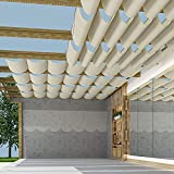 TANG Pergola Shade Cover Retractable Replacement Awning Canopy Shade Cover for Deck Porch Patio Slide Hang Down Wave Shade Cover Removable with Hardware Wire Cable Beige 3'x16'