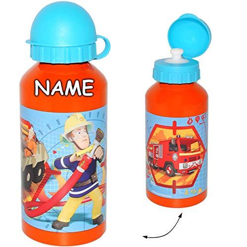 alles-meine.de GmbH Trinkflasche / Sportflasche -  Feuerwehrmann Sam  - incl. Name - Alutrinkflasche - aus Aluminium 400 ml - für Kinder Aluflasche 0,45 Liter / auslaufsicher -..