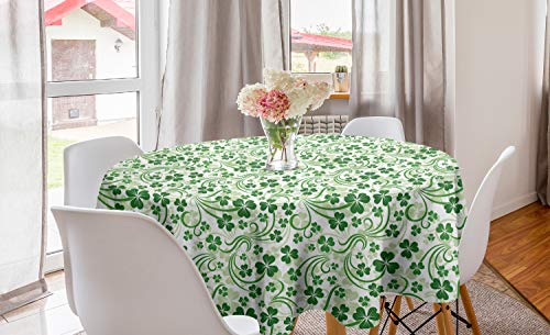 Lunarable Shamrock Round Tablecloth, Lucky Celtic Clovers Swirls Monochrome Irish Design St Patrick's Day, Circle Table Cloth Cover for Dining Room Kitchen Decoration, 60', Green Emerald