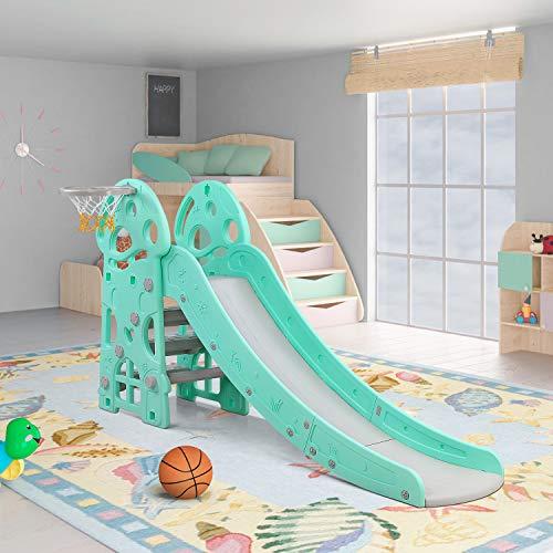 LAZY BUDDY Toboggan pour Enfants, Toboggan Amusant avec Panier de Basket, Toboggan Maternelle, Multifonction, Stable, Sûr, Grand et Largeur 103 x75.5 x195cm