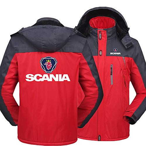 NISHUSHANW Herren Wasserdicht Hooded Jacke Berg Ski Vlies Zum Saab/Scania Beiläufig Jacken Windbreaker Warm Mantel Y / red1 / XXXXL