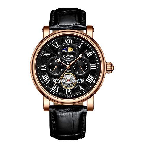 QZPM Hombre Automático Mecanico Relojes Luminoso Impermeable Analogico Militar Cronógrafo Moda Cuero Business Relojes,Negro