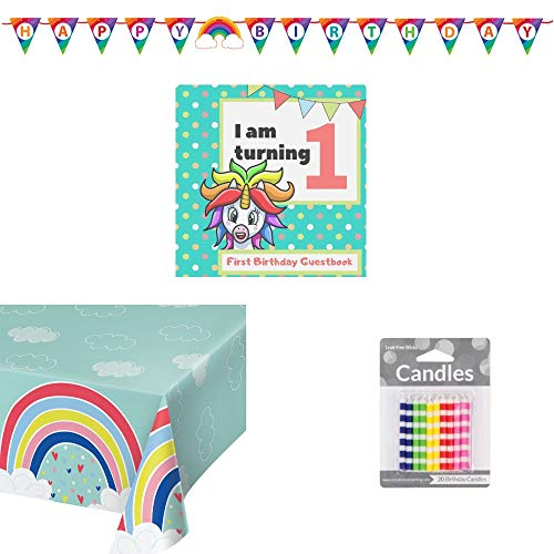 First Birthday Decor Rainbow and Unicorn Kit: 1 Rainbow Tablecover, 1 Happy Birthday Prennant Banner, 1 First Birthday Guestbook and Gift Tracker, 1 pack of 20 Lead-free Multicolor Striped Candles