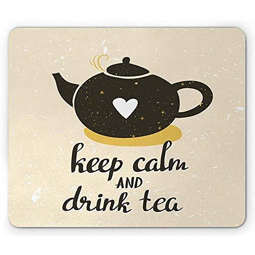 Keep Calm Mouse Pad, Drink Tea Lettering met hart op theepot, muismat, donker olijfgroen bleke aarde gele eierschaal