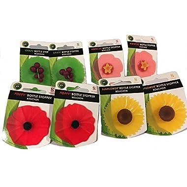 Charles Viancin, Floral Bottle Stopper: Hibiscus, Sunflower, Poppy, Grape, Set of 8 …