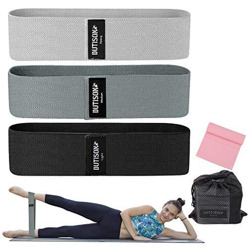 DUTISON Widerstandsbänder, Fitnessbänder Gymnastikband rutschfest [3er Set], Sportbänder mit starker Dehnbarkeit für Yoga, Muskelaufbau, Pilates, Beintraining