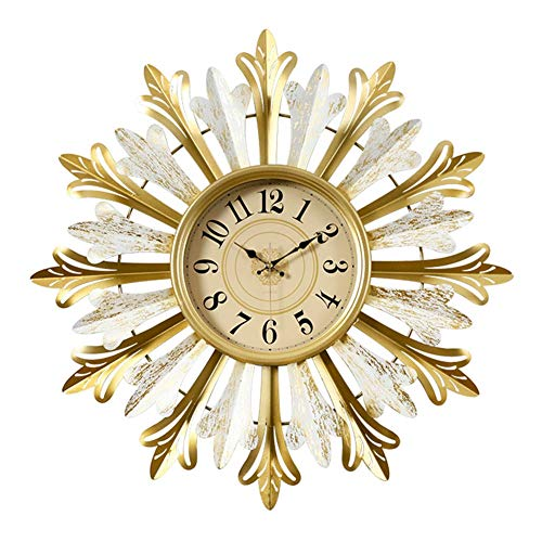 A-GHM Clock Wall Clock Personalized Creative Non Ticking Battery Operated Modern Living Room Handmade Wrought Iron Art European Wall Decoration 3D