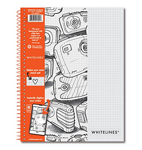 Roaring Spring Whitelines Spiral Graph Ruled Notebook, Digitally Download Your Notes with FREE App, Premium Gray Paper, 11  x 8.5  70 Sheets