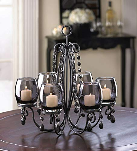 DKA Future 2 Way Using Black Curvy Iron Crystal Chandelier Candelabra Candle Holder Hanging Table Centerpiece 6 Glass Cup