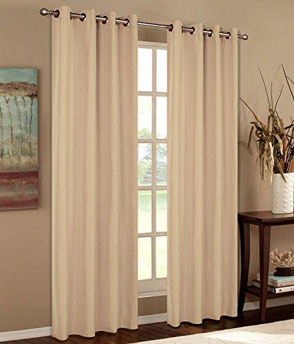 Vorhang Blickdicht Schal, 2 Stück 245x140 (HxB) Matte unifarbene Gardine mit Ösen, Sand Material aus Microsatin Micofaser-Gewebe, 204050