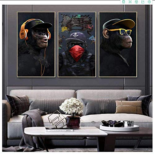 YaShengZhuangShi Canvas wall art no frame 3x40x50cm(15.7x23.6in) Funny Masked Music Glasses Headphone Monkey Large Animals Posters and Prints Wall Art Pictures Home Decor