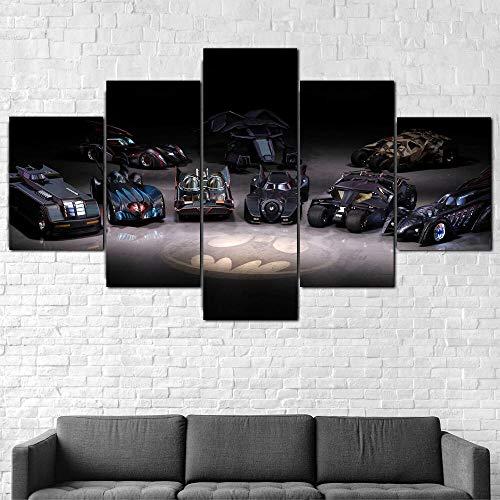 XHJY Cuadros Modernos Baratos 5 Piezas Listo para Colgar Un Marco HD Arte De Pared Modulares Sala De Estar Dormitorios para El Hogar,Coches De Batman-150 x 80 cm