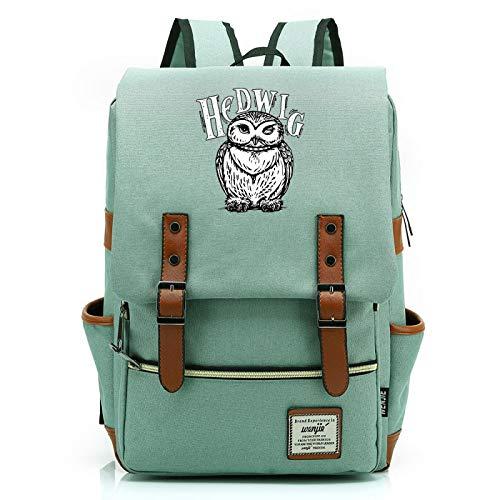 MMZ Teenage Unisex Casual Harry Potter Backpack Cute owl School Bag Notebook Bag Travel Backpack Large Green