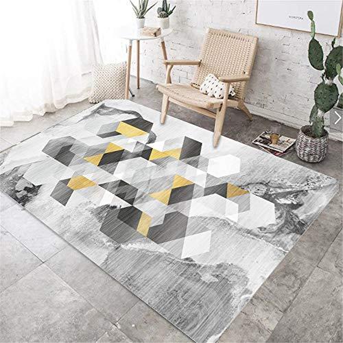 Alfombras hogar Decoracion habitacion Diseño de Tinta Amarilla y Gris con decoración de patrón geométrico de Graffiti alfombras de habitacion Infantil Alfombra Juvenil 100*160cm