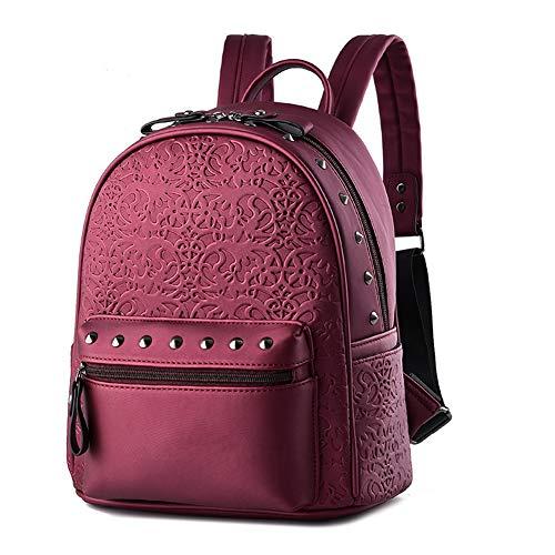 BARUYO damesmode lichte Oxford-schoudertas, waterdichte schoolrugzak tegen diefstal, schattige meisjes, stijlvolle rugzak, handtassen-dagrugzak 11 x 5,7 x 12,6 inch/rood