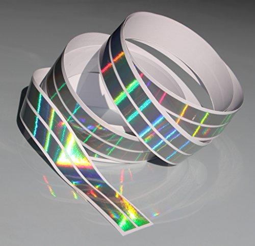 Chrom Hologramm Zierstreifen Folie Klebefolie Aufkleber Dekorstreifen KX007 (Hologramm Silber, 4Meter x 10mm)