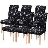 Fundas de Silla de Comedor Elásticas y Modernas, Extraíbles y Lavables, Fundas de Licra para sillas Altas 6 Piezas Fundas Protectoras para sillas (Negro Oscuro/Flower, Paquete de 6)